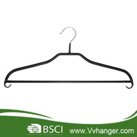 MHP023 Non-slip suit metal hanger pvc coated rounded shoulders ends, pants bar with built-in hooks