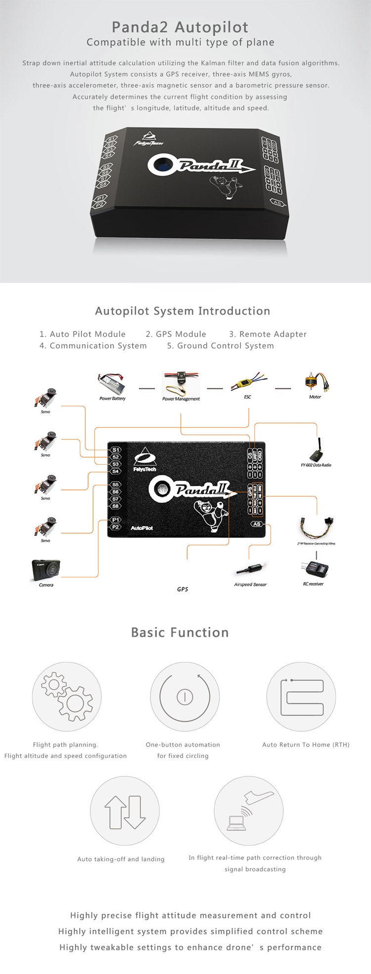 FeiyuTech panda2 frofesssional autopilot for fixed wing uav plane aerial surveying and mapping