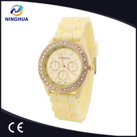 Silicone Rubber Band Diamond Jelly Watch Promotional Products Quartz Movement Crystal Watches For Ladies