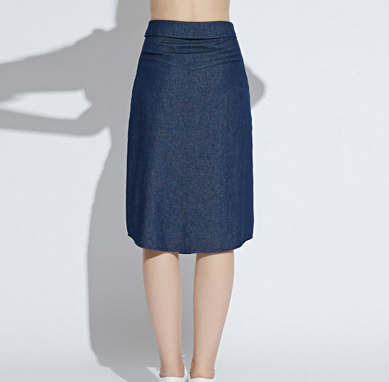 Guangzhou wholesale denim skirt with buttons at front for women