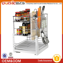 2015 China Best Selling Products Metal Kitchen Cabinet Pull Out Basket , Wire Storage Basket in Chrome Plating with Slide