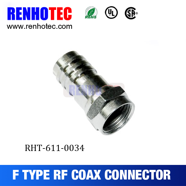 F Connector Male Crimp For RG59 Attached Ferrule