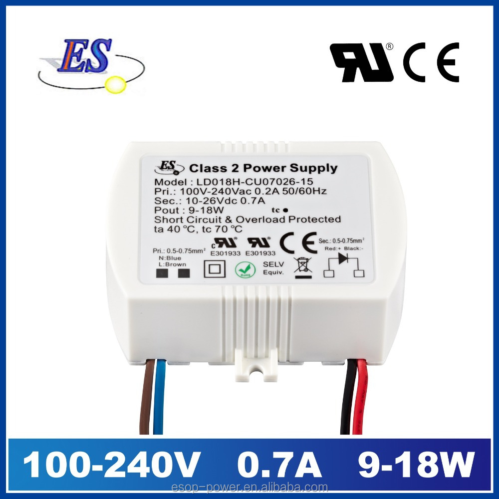 18 watt 26VOLT 700mA AC DC Constant Current C.C Mode LED Driver with UL CUL CE IP65
