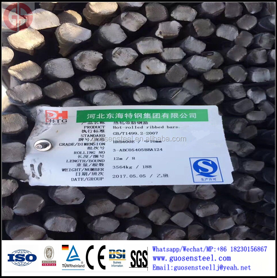 PSB500 Scres-thread Steel Bars GB HRB400 HRB500 BS4449 ASTM A615 GR40 GR60 steel rebar, deformed steel bar, iron rods