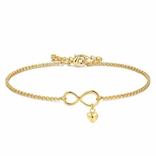 Brace1 Infinity Symbol Gold Plated Jewelry Infinite Circles Heart Pendant Bracelets For Women