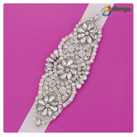 Wholesale bling silver bead crystal pearl Bailange Handmade crystal lace handcut rhinestone applique for bridal sashes