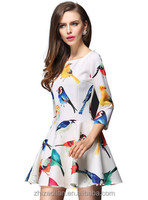 colorful tropical birds printing dress for wholesale and free shipping haoduoyi