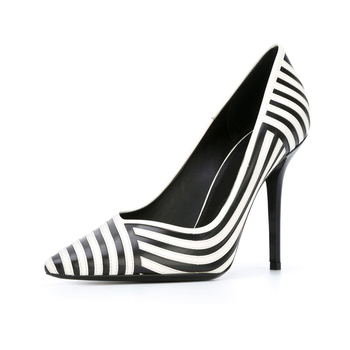 chequered with black and white zebra pattern thin high heel shoes lady pump shoes