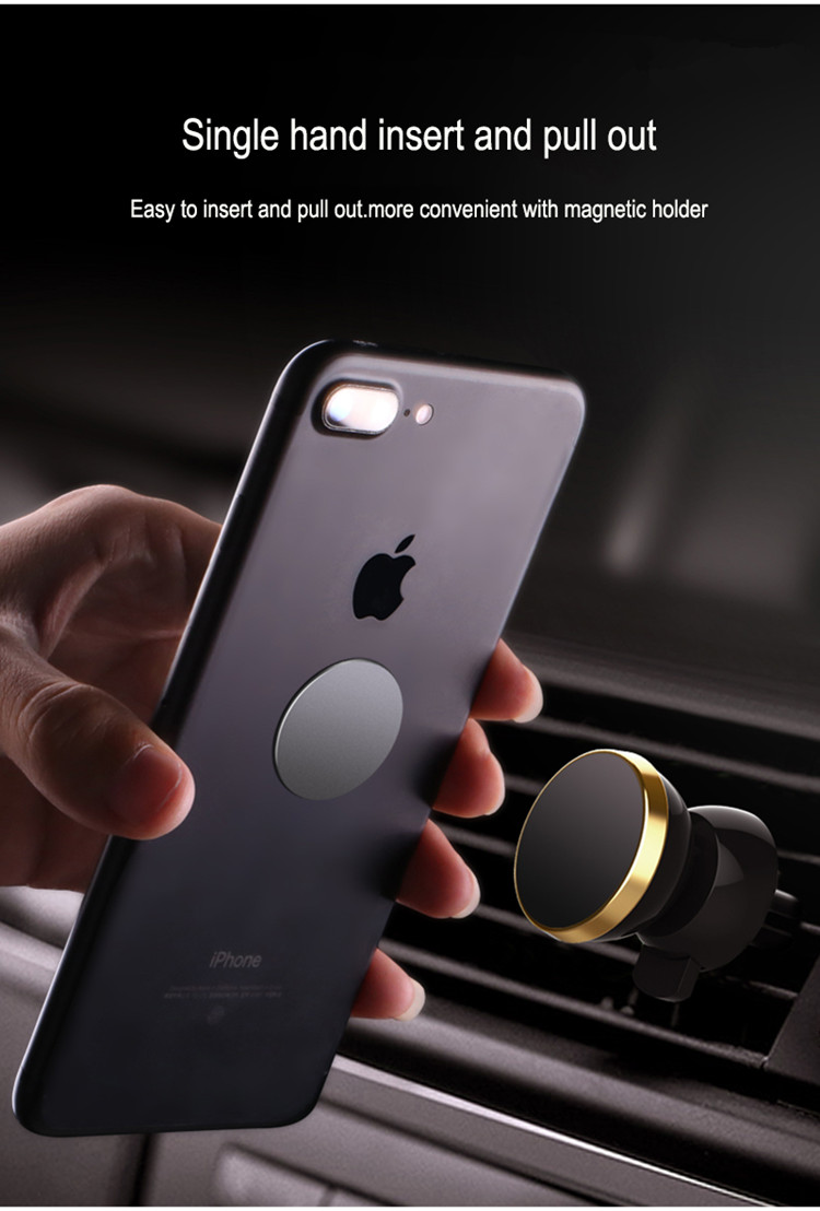 Strong Air Vent Metal Magnetic Car Mount Phone Holder with 6 Magnets