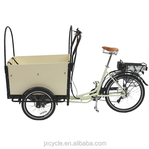 three wheel electric family cargo bike trike for passenger with pedel sensor