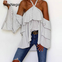 Maxnegio 2018 Ladies Striped Tops Halter Women Tiered Ruffle Blouse