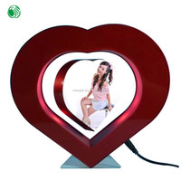 Two sides heart shaped magnetic levitation photo popular frame floating vanity gifts for family