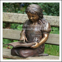 Modern Bronze Garden Learning Girl Statue
