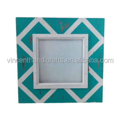 Double edge green and white color print diamond cheap vintage wooden photo frame