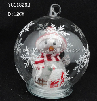 Hot selling hanging glass ball snowman inside with LED light