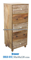 Vintage Hand Carved Wooden 5 Drawers Chest Furniture, Industrial Distressed Chest of Drawers,