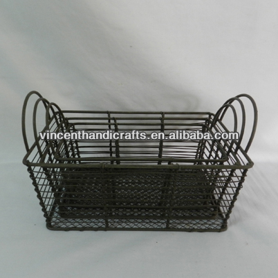 Primitive rectangle rusty metal wire stacking baskets, metal ear handle, set of 3