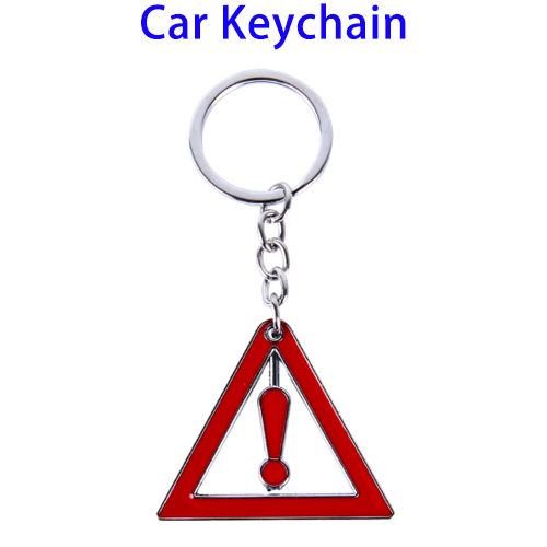 Promotional Gift Triangle Warning Mark Car Keychain Metal for Girls