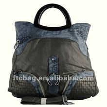 Weave and animals skin style handle bag
