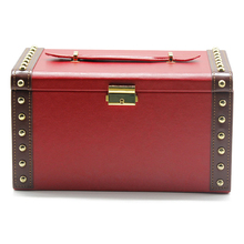 Superior quality plain weave big red leather jewelry box