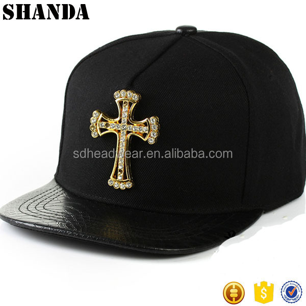 Snakeskin Leather Bill Design Custom Gold Plate Snapback Cap Hat