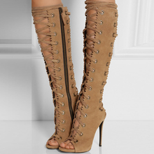 NEW Arrival Fashion Sexy Women Gladiator Knee Strappy High Heel Boots with Peep Toe