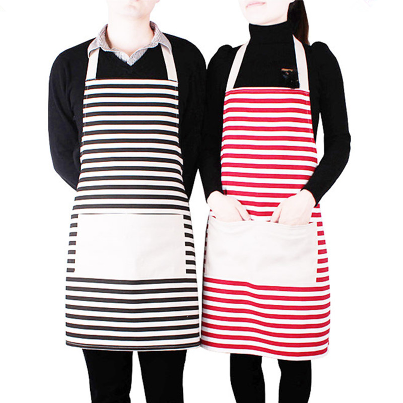 Unbranded new designs kitchen aprons custom logo cotton striped canvas apron