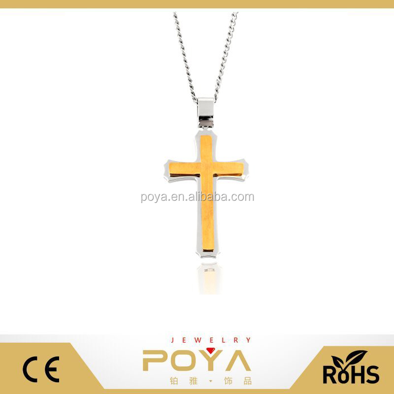 POYA Jewelry Men's Cross Necklace 24 Inch Curb Chain 2 Dimensional Large Pendant (Silver,Gold ,Black )