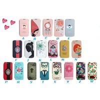 Korean fresh series sweet cute cartoon printing flip leather case for iPhone 6 with card slot