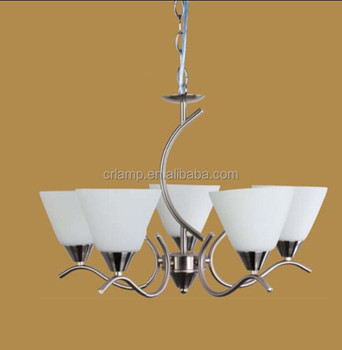 WHITE GLASS 5 LIGHT SATIN NICKEL IRON PENDANT LIGHTING CR2049-5P