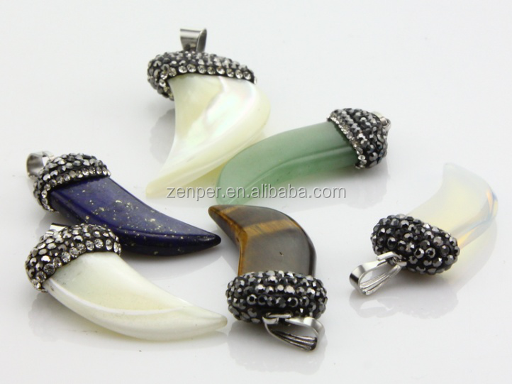 Wholesale crystal pave rhinestone gemstone horn pendants for necklace DIY