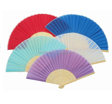 21cm chinese fancy bamboo silk fans in different colors