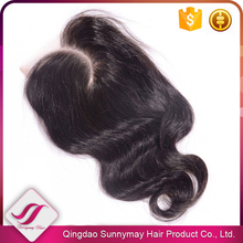 2016 New Style Curved Part Lace Closure PeruvianVirgin Hair Lace Closure Pieces Body Wave Bleached Knots Middle Part Closure