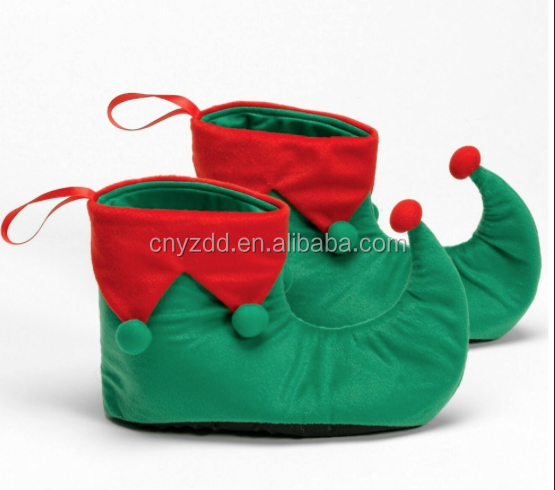 Free sample plush christmas elf shoes soft elf slippers