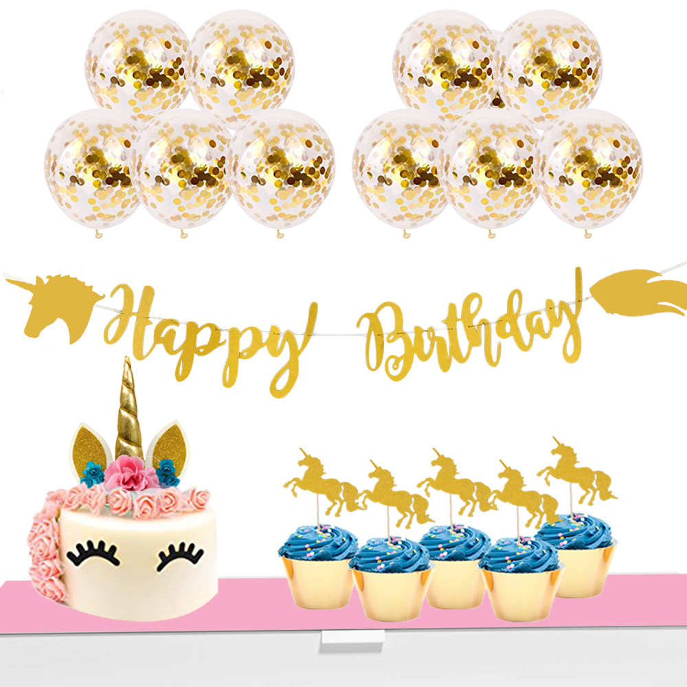 happy birthday banner set balloon confetti cupcake topper unicorn birthday party supplies