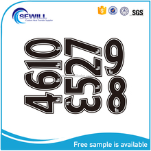 Strong elastic custom heat transfer number and letters for soccer uniform