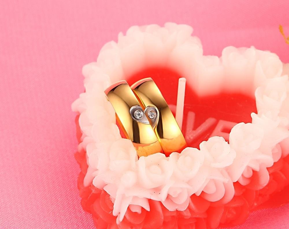 Foreign trade jewelry wholesale, heart-shaped zircon ring, Korean version of the popular jewelry titanium steel YSS687