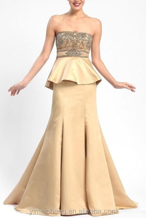 Strapless yellow puffy good quality long party dresses special occasions prom dresses