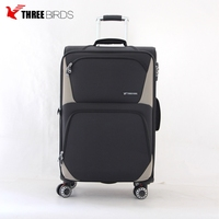 Soft nylon big 3pcs trolley case 3pcs luggage set for travel and business