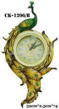 Polyresin peacoak antique decorative large wall clock