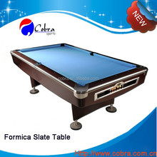 Solid Wood Cover Formica Toprail Slate Billiard Table with best quality