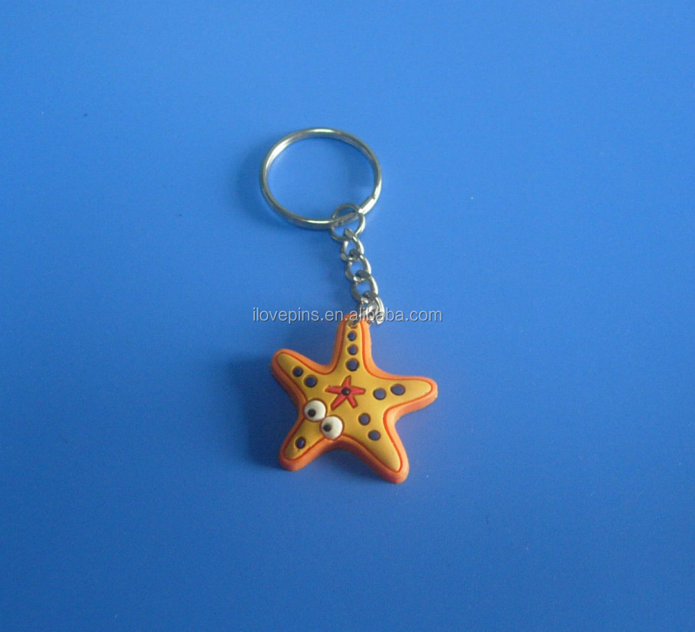 cute starfish 3D rubber key chain