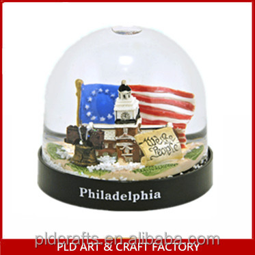 USA 3D Building Plastic Snow Globe with snow