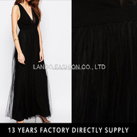 2016 latest design of ladies black deep v long formal evening party wear gown
