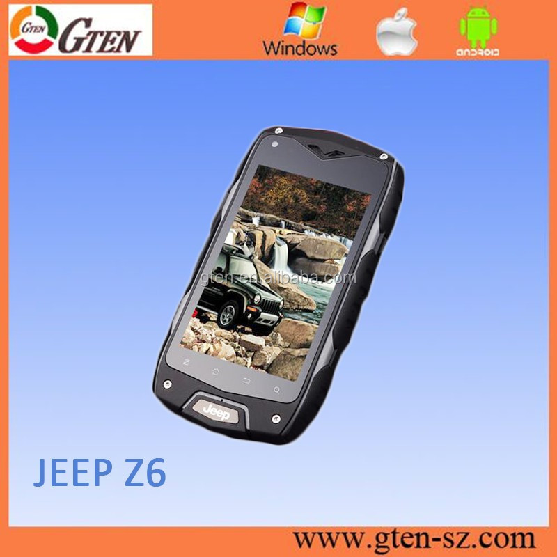 New Stock Jeep Z6 Mobile Phone 3.97'' MTK6582 Quad Core 512MB+2GB Android 4.2 IP68