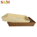 Top quality fancy customized PE rattan basket flat square bread storage disposable food tray
