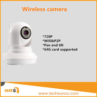 720P wireless security camera mini P2P wifi pan tilt 2 way audio 64g card supported rotating