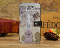 Retro Statue of Liberty French Eiffel Tower Pattern Folio Wallet Case Cover for iPhone 5c