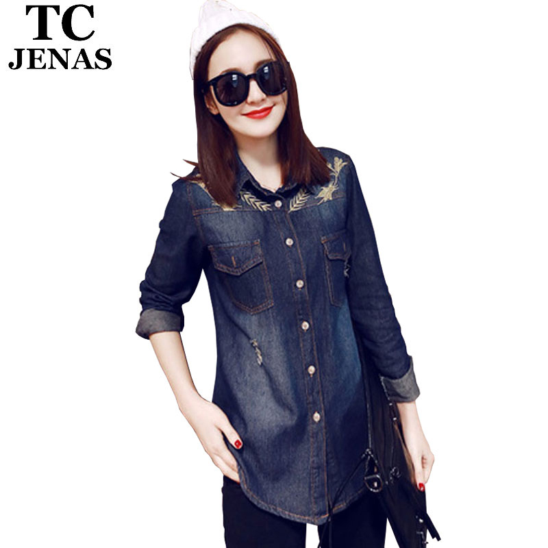TC Women Denim Shirt 2015 Spring Autumn Casual Slim Washed Bleached Long Sleeve Ripped Jeans Shirt Women Clothing Tops WT00584