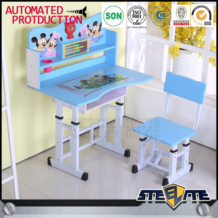 Cheap price metal desk and chairs child study table design mickey mouse picture kid table
